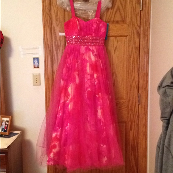 Deb Dresses   Pink Tulle Ball Gown With Floral Underlay   Poshmark
